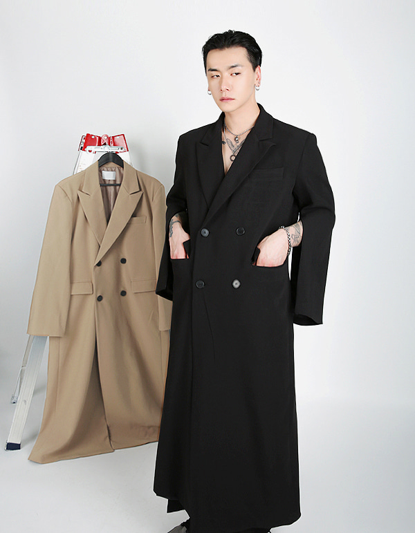 No.7842 sleeve zipper double long COAT