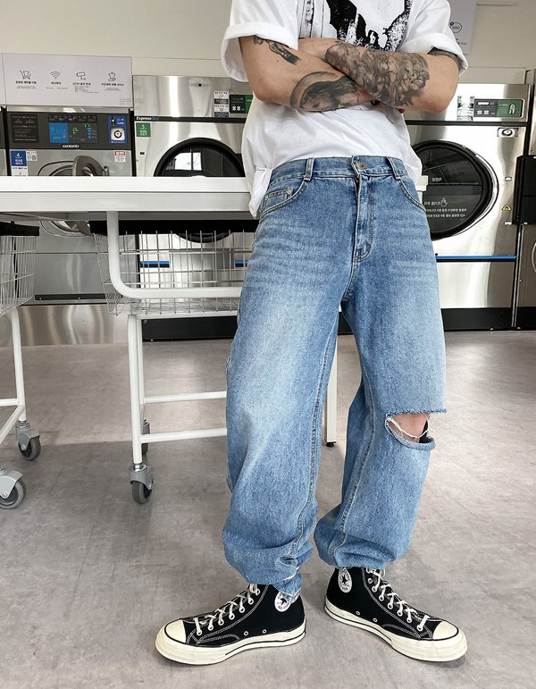 No.8791 JU knife washing denim PT